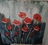 Acrylmalerei, Mohnblumen, Blumen, Malerei