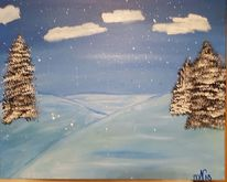 Winterlandschaft, Acrylmalerei, Malerei, Winter