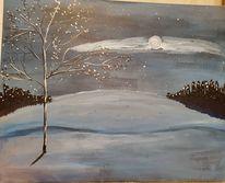 Winterlandschaft, Mond, Acrylmalerei, Malerei