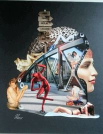 Collage, Frau, Modern, Illustrationen