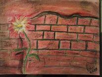 Mauer, Ziegel, Blumen, Malerei