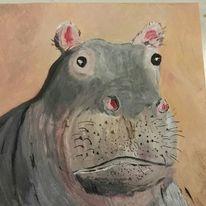 Tiere, Flusspferd, Malerei