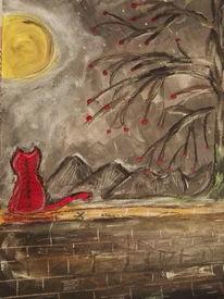Katze, Mond, Mauer, Malerei