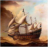 Kogge, Malerei, Segelschiff, Sturm