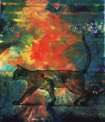 Kunstwerk, Katze, Zeitgenössisch, Kater