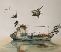 Plenair, Aquarellmalerei, Schiff, Aquarell