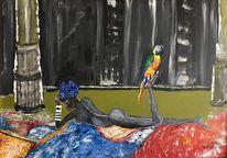 Malerei, Papagei, Frau,