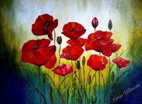 Acrylmalerei, Rot, Mohnblumen, Malerei