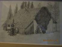 Landschaft, Schwarz, Weiß, Zeichnungen