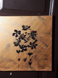 Schwarz, Blumen, Abstrakt, Malerei