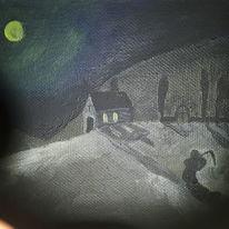 Licht, Schwar, Landschaft, Malerei