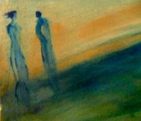 Menschen, Deich, Gelb, Malerei