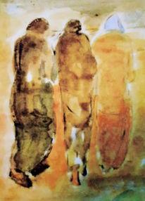 Menschen, Weg, Gelb, Malerei