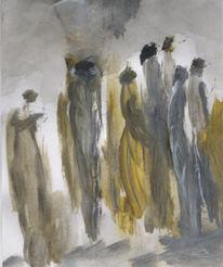 Grau, Menschen, Blick, Malerei