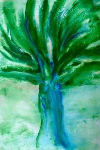 Baum, Gesellschaft, Frau, Malerei