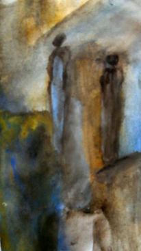 Schau, Landschaft, Frau, Malerei