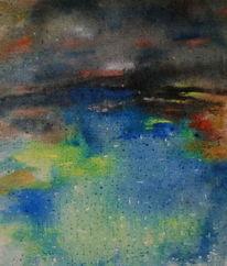Stadtrand, See, Blau, Malerei
