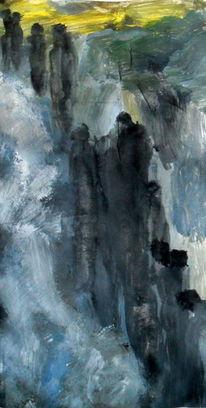 Mühsam, Bergauf, Grau, Malerei