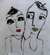 Tochter, Familie, Mutter, Malerei
