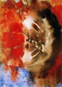 Abstrakt, Rot, Weiß, Malerei