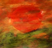 Sonnenuntergang, Rot, Sonne, Malerei
