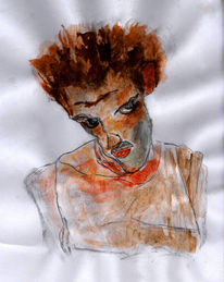 Blick, Mann, Frisur, Malerei