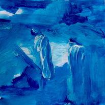 Person, Blau, Malerei,