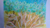 Blumen, Gold und silber, Baum, Aquarell