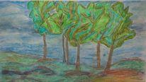Aquarellmalerei, Himm, Wolken, Mischtechnik
