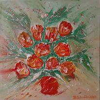 Acrylmalerei, Blumen, Abstrakt, Malerei