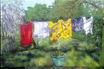 Kirschbaum, Blauregen, Garten, Kübel