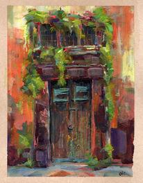 Fenster, Aquarellmalerei, Tür, Gouachemalerei