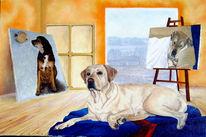 Duke, Ölmalerei, Hund, Malerei