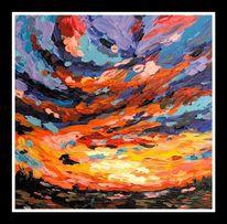 Acrylmalerei, Meer, Malerei, Sonne