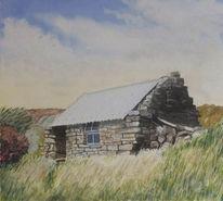 Fischerhütte, Hütte, Gras, Steinhütte