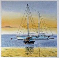 Motorboot, Nebel, Aquarellmalerei, Morgenstimmung