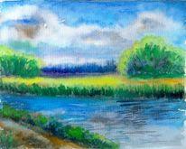 Landschaft, Aquarellmalerei, Aquarell landschaften, Wolken