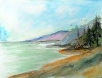 Grün, Vogel, Meer, Landschaftsmalerei