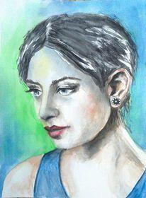 Aquarell portrait, Ausdruck, Frau, Gesicht