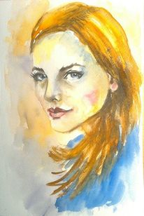 Frauenportrait, Schön, Aquarellmalerei, Porträtmalerei