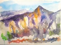 Aquarellmalerei, Gebirgslandschaft, Berge, Blau