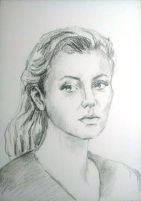 Schwarz, Junge frau, Zeichnung portrait, Weiß