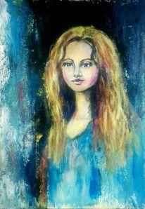 Blond, Hübsch, Spachteltechnik, Portrait