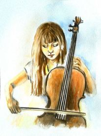 Aquarellmalerei, Cello, Aquarell portrait, Braun