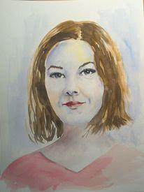 Frauenportrait, Hübsch, Aquarellmalerei, Aquarell portrait