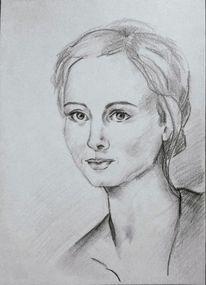 Zeichnung, Bleistiftzeichnung, Frau, Frauenportrait