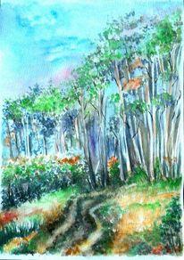 Aquarell landschaften, Waldweg, Blau, Landschaft