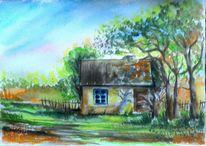 Sommer, Baum, Aquarell landschaften, Aquarellmalerei
