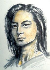 Japaner, Aquarellmalerei, Gesicht, Portrait