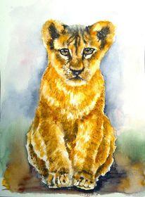 Löwe, Tierportrait, Löwenbaby, Aquarellmalerei